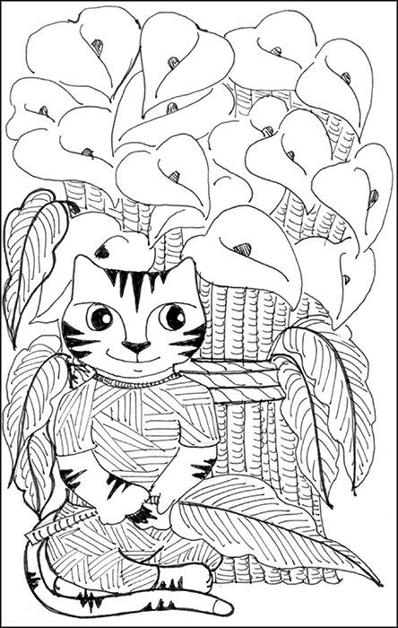 Cat Cartoon Art Link Diego Rivera Pen Ink Drawing