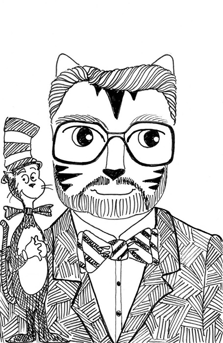 Cartoon Art Cat Link Pen Ink Drawing Dr. Seuss
