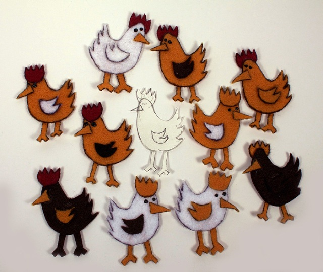 Photo of flock of felt chickens.