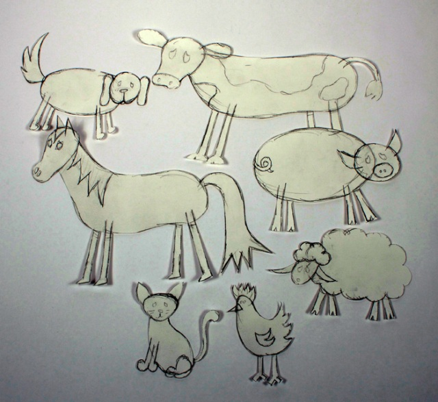 Photo of preliminary animal drawings.
