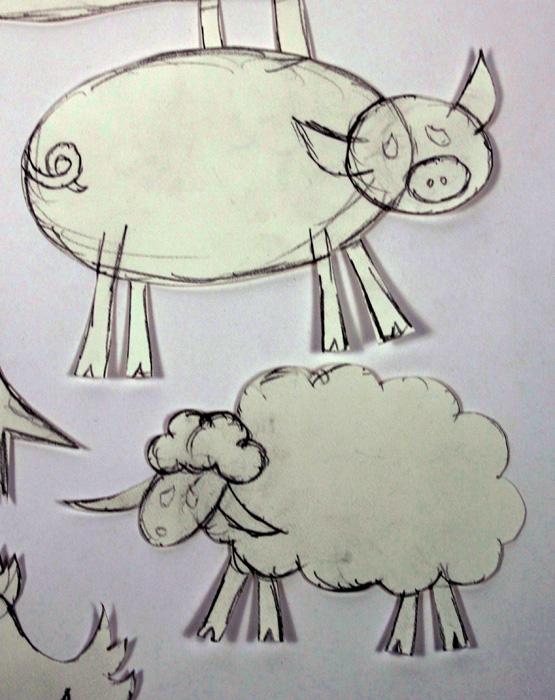 Photo of preliminary drawings of pig and sheep.