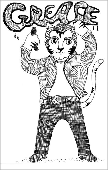Cat Cartoon Art Link Pen ink Drawing Grease