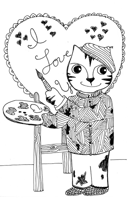 Cartoon Art Cat Link Pen Ink Drawing Valentine's Card