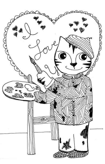 Cartoon Art Cat Link Pen Ink Drawing Valentine's Card