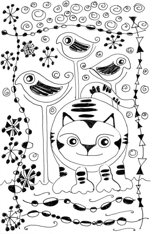 Cat Cartoon Link Pen Ink Drawing Joan Miro