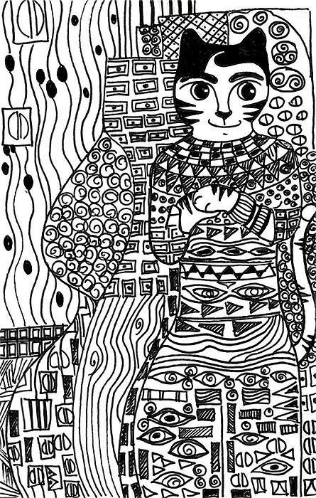 Cat Cartoon Art Pen Ink Drawing Link Klimt