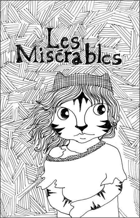 Cat Cartoon Link Art Pen Ink Drawing Les Miserables
