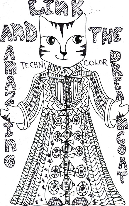 Cat Cartoon Art Link Pen Ink Drawing Dreamcoat