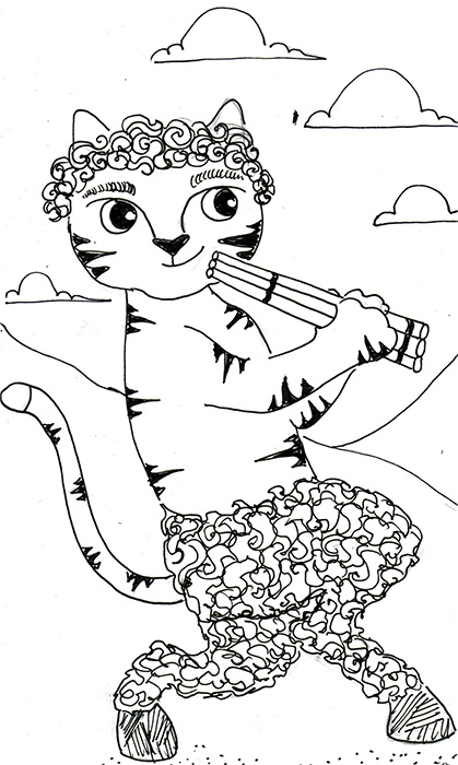 Cat Art Cartoon Pen Ink Drawing Pan Project 365