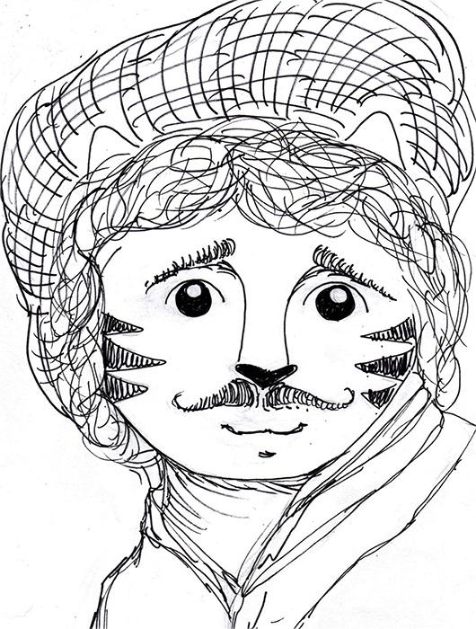 Cat Cartoon Art Pen Ink Drawing Rembrandt Link
