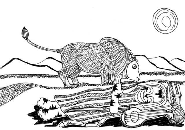 Cat Cartoon Pen Ink Drawing Link Sleeping Gypsy