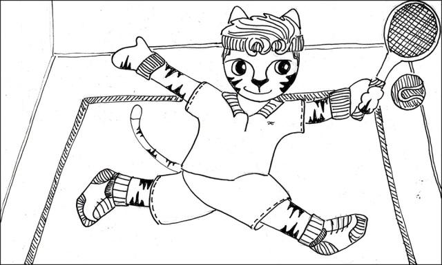 Cat Cartoon Link Art Tennis Pen Ink Drawing