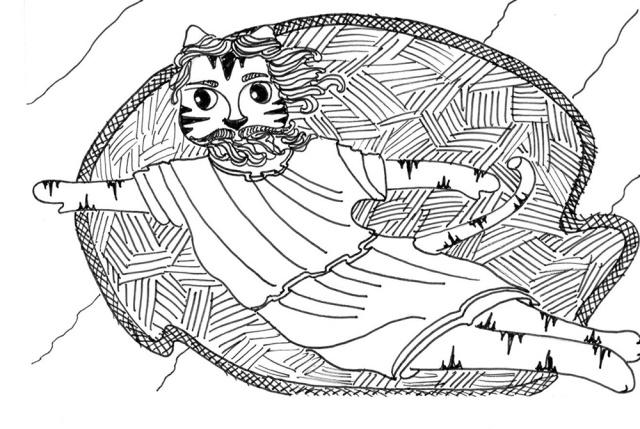 Art Cat Cartoon Link Michelangelo Creator Pen Ink Drawing