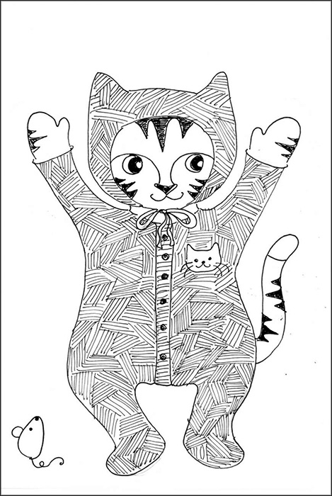 Cat Art Link Cartoon Pen Ink Drawing Baby Photos