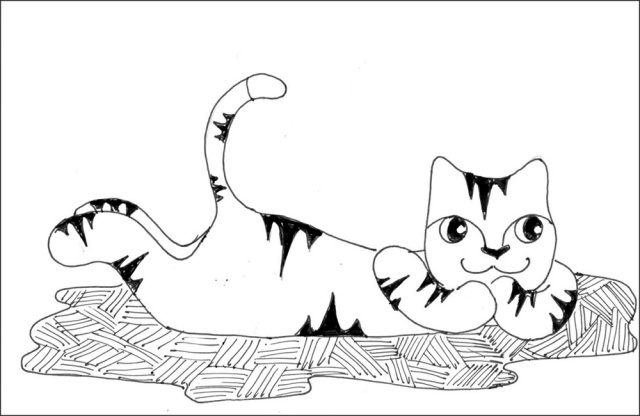 Cat Art Cartoon Link Pen Ink Drawing Baby Photo