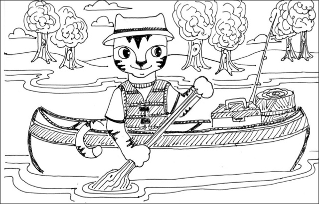 Cat Art Link Pen Ink Drawing Cartoon Canoe
