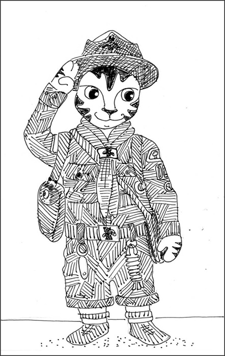 Cat Art Link Cartoon Pen Ink Drawing Scouts