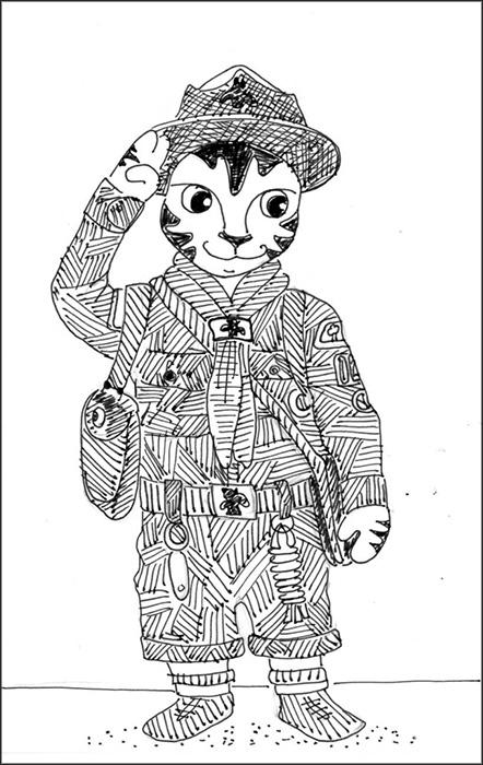 Cat Art Link Cartoon Pen Ink Drawing Scouts