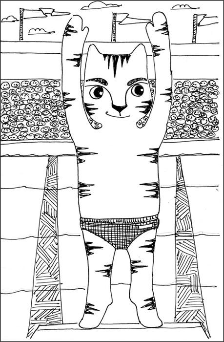 Cat Art Cartoon Link Pen Ink Drawing Diving