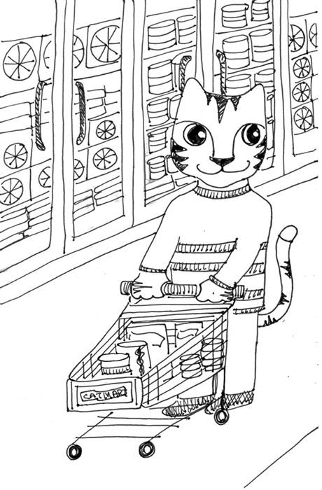 Cat Art Link Cartoon Pen Ink Drawing Shop