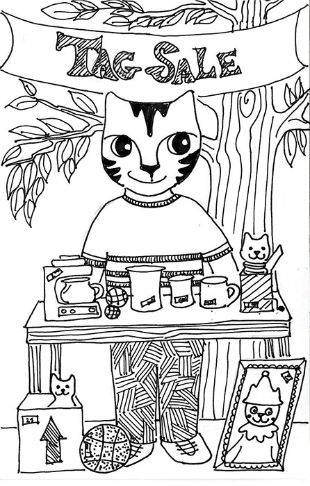 Cat Art Link Pen Ink Drawing Cartoon Tag Sale