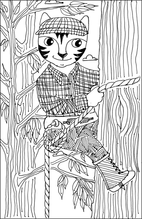 Cat Art Link Pen Ink Drawing Tree Climber Cartoon