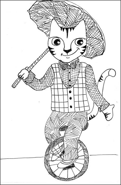 Cat Art Cartoon Link Pen Ink Drawing Unicycle