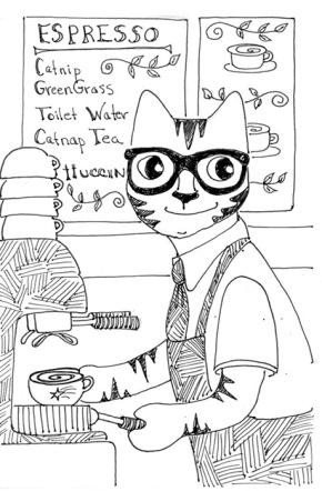 Cat Art Link Pen Ink Drawing Barista Coffee