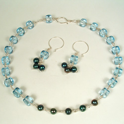 Blue Cube and Pearl Necklace