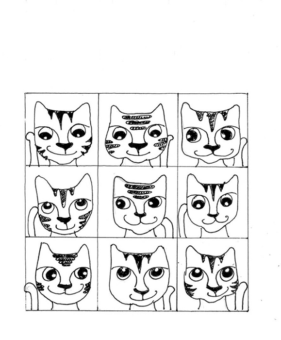 Cat Art Cartoon Link Pen Ink Drawing Brady Bunch
