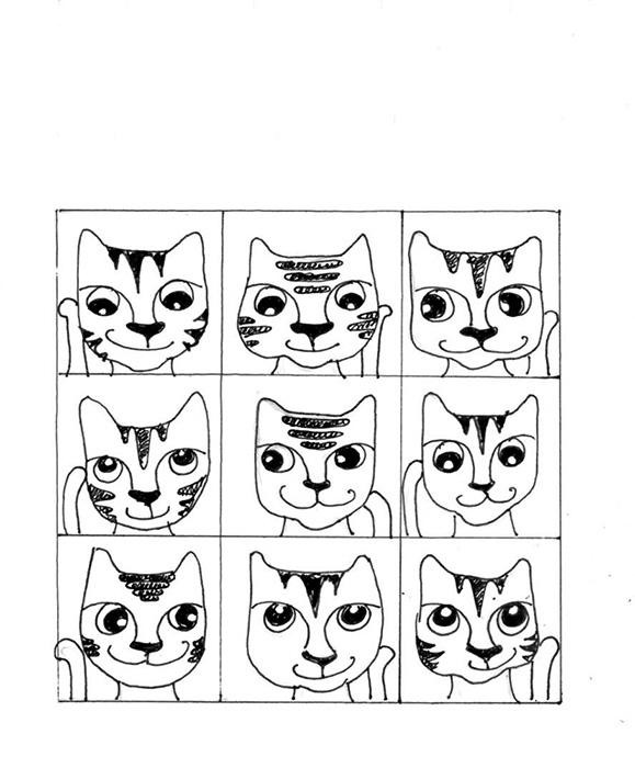 Cat Art Cartoon Link Pen Ink Drawing Brady Bunch