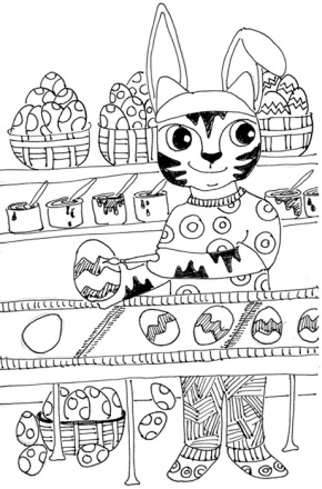 Cat Art Cartoon Pen Ink Drawing Link Eggs Color