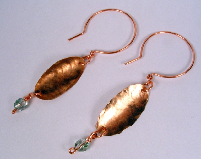 Copper leaf earrings.