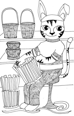 Cat Art Cartoon Pen Ink Drawing Link Easter Bunny Basket