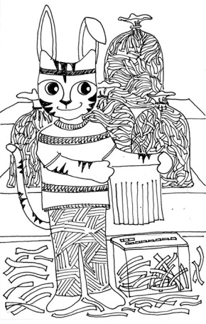 Cat Art Link Cartoon Pen Ink Drawing Easter Bunny Grass