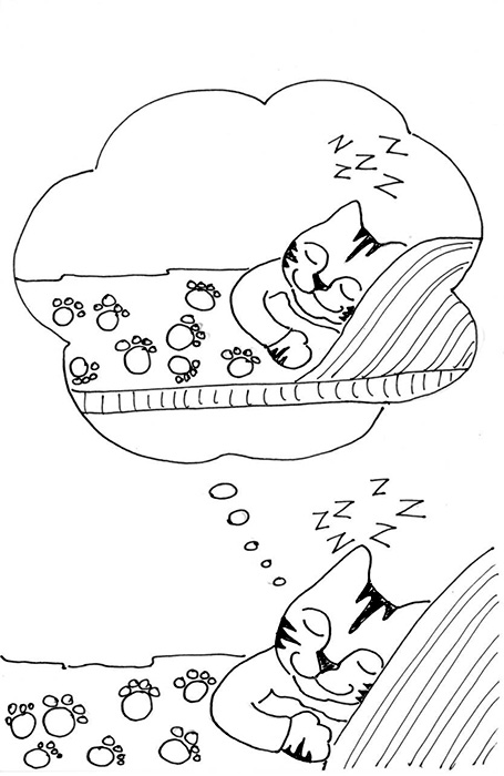 Cat Art Link Cartoon Pen Ink Drawing Kitty Dreams