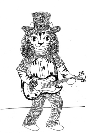 Cat Art Cartoon Pen Ink Drawing Link Band Lead Guitar