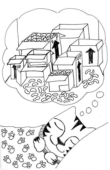 Cat Art Link Pen Ink Drawing Dreams