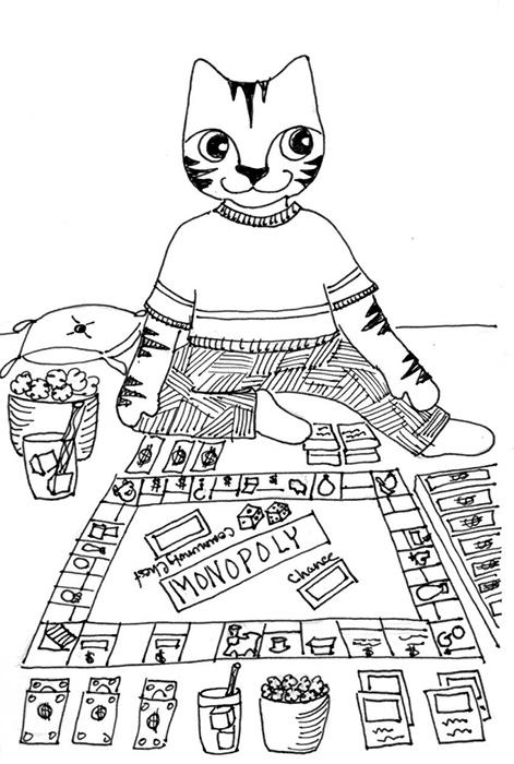 Cat Art Cartoon Pen ink Drawing Link Monopoly
