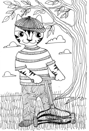 Cat Art Cartoon Pen Ink Drawing Grass Mow