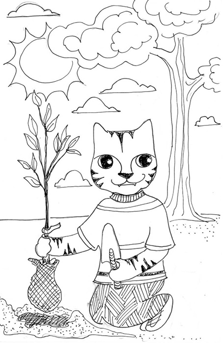 Cat Art Cartoon Link Pen Ink Drawing Tree
