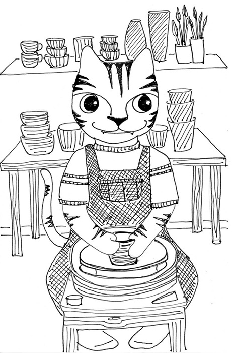 Cat Art Link Cartoon Pen Ink Drawing Pottery Wheel