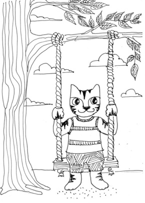 Cat Art Cartoon Pen Ink Drawing Swing Spring
