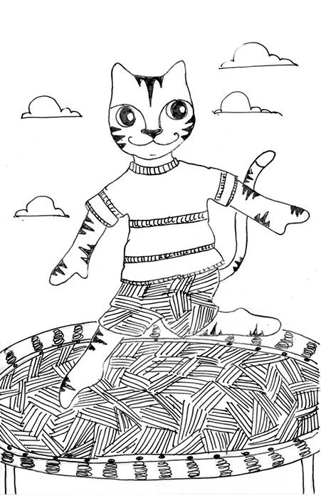 Cat Cartoon Pen Ink Drawing Art Link Trampoline
