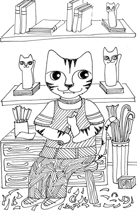 Cat Art Link Cartoon Pen Ink Drawing Whittle