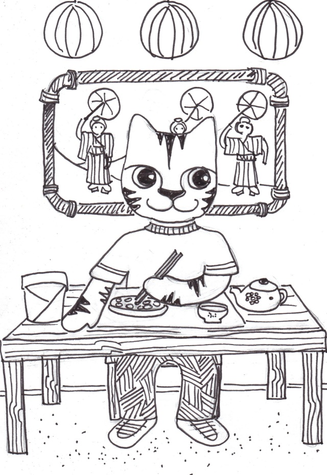 cat art link pen ink drawing cartoon Link chinese food
