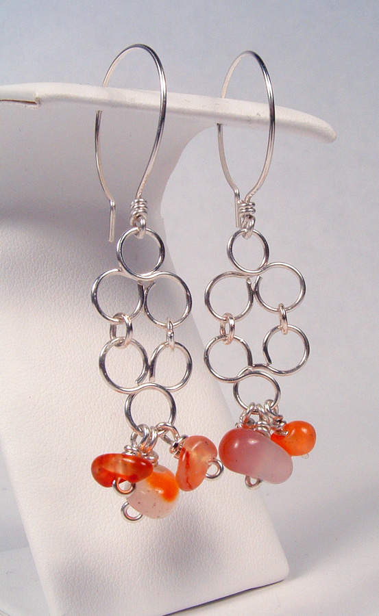 Agate earrings that match the Italian art bead necklace.