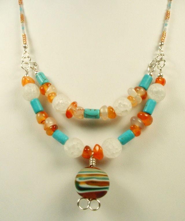 Necklace made with an Italian art bead for the pendant.