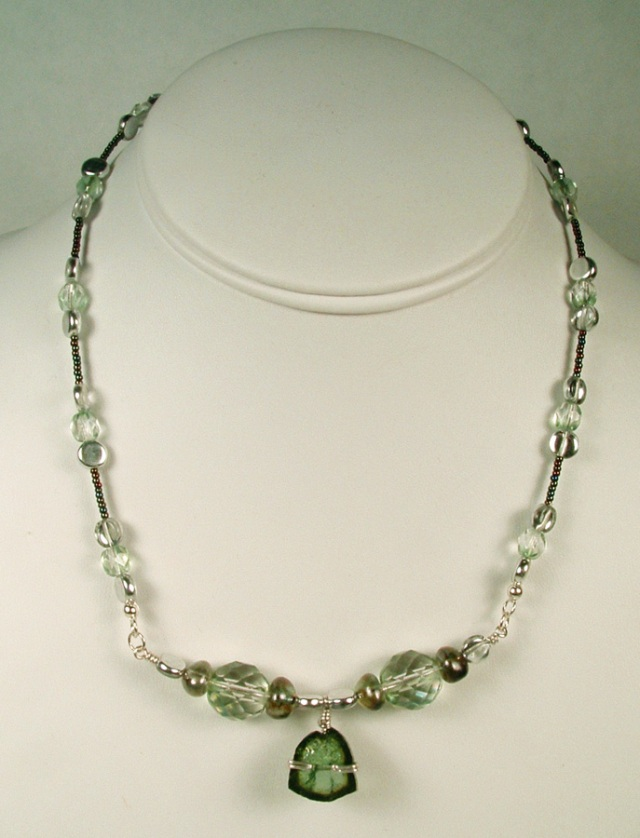 Tourmaline, crystal, glass and sterling silver necklace.