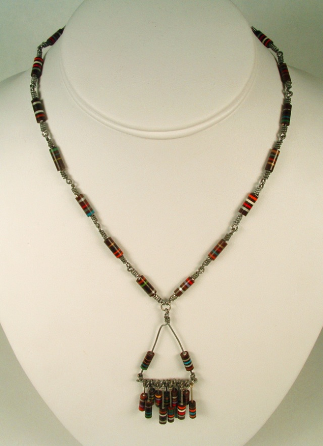 Necklace made up entirely of electronic resistors.